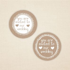 You Are Invited To Our Wedding 37mm Matt Paper Sticker